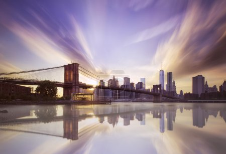 Photo for Sunset over the Brooklyn bridge on the memorial day 9-11 - Royalty Free Image