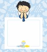 Boy first Communion card  space for text