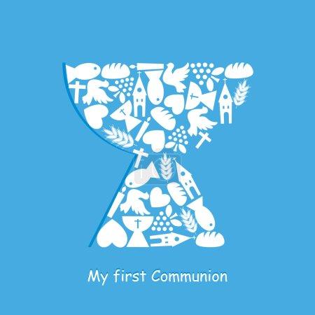 Illustration pour Carte d'invitation à la première communion - image libre de droit
