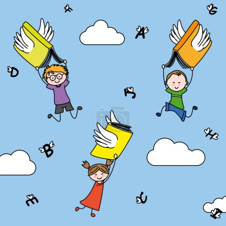 Illustration pour Des lettres et des livres avec des ailes portent des enfants. illustration imagination et éducation - image libre de droit