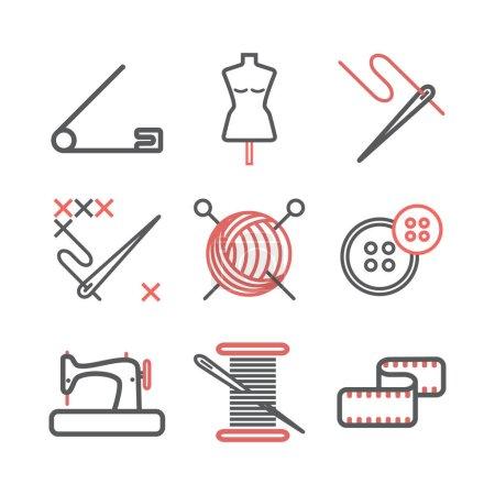 Illustration pour Couture, Personnalisation des icônes de ligne. Signes vectoriels pour les graphiques web - image libre de droit