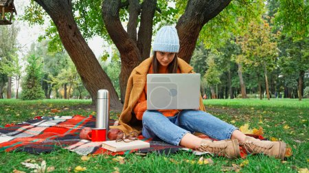 young freelancer working on laptop while sitting on plaid blanket under tree in park
