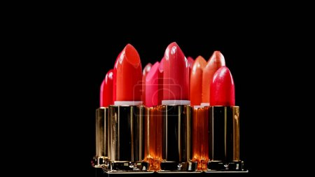 variations of different lipsticks isolated on black