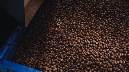 top view of roasted coffee beans in container