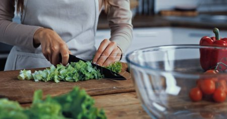 cropped view of woman cutting green lettuce on chopping board