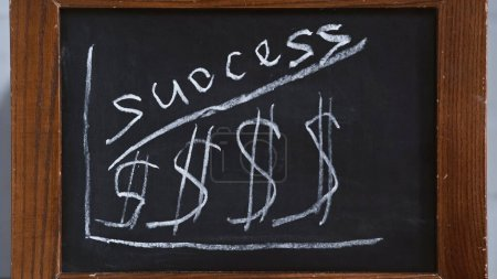 steigende Tabelle mit Dollarzeichen und Erfolgs-Schriftzug auf der Tafel, Geschäftskonzept