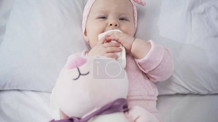 top view of infant baby sucking soft toy in bedroom