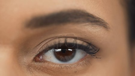 Photo for Cropped view of african american woman with brown eye - Royalty Free Image
