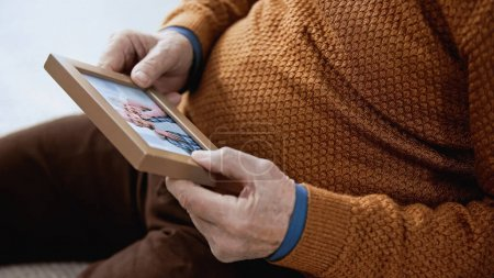 close up view of senior male hands gently holding family picture on grey background