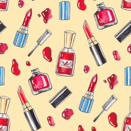 Photo pour Produits de maquillage aquarelle définie. Produits de beauté. Arrière-plan transparent main dessiné Illustration - image libre de droit