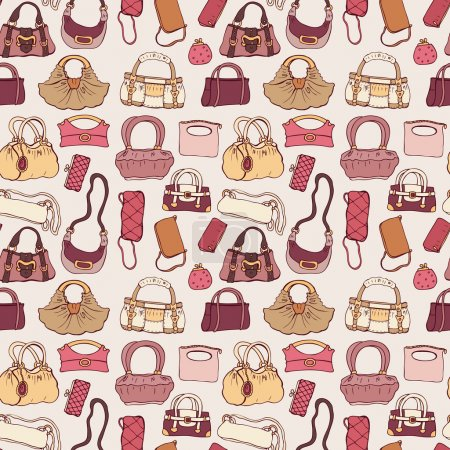 Illustration for Background of women handbags. Hand drawn vector pattern. - Royalty Free Image