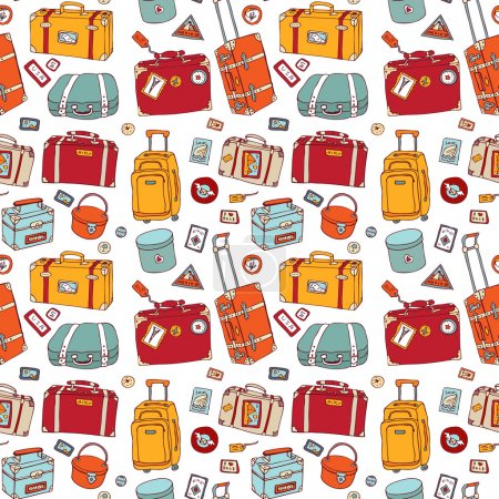 Illustration for Background of vintage suitcases. Seamless Travel Illustration. - Royalty Free Image