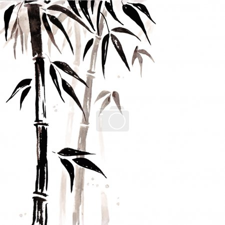 Illustration for Bamboo in Chinese style. Vector hand drawn illustration. - Royalty Free Image
