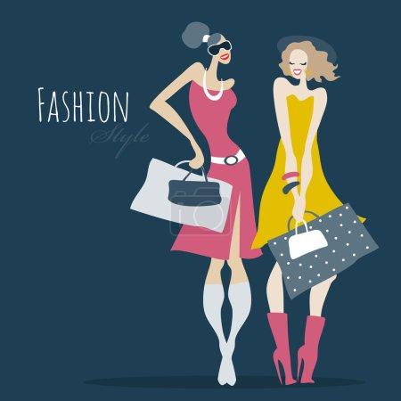 Illustration pour Belles femmes avec des sacs à provisions. Des filles mode. Illustration vectorielle - image libre de droit