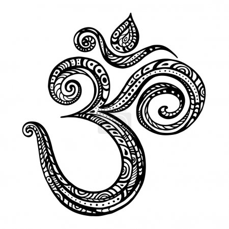 Om symbol Aum, ohm. Hand drawn detailed vector ill...