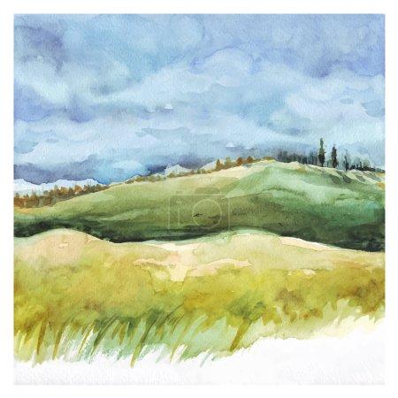 Illustration pour Aquarelle Nature fond. Champ et forêt, paysage estival. Peinture à la main - image libre de droit