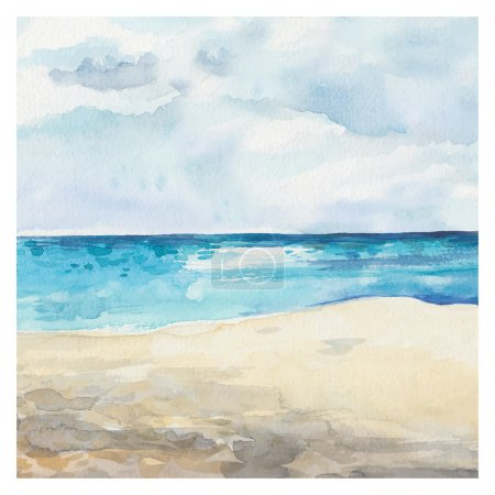Illustration for Watercolor Sea background. Hand drawn painting. Summer marine landscape - Royalty Free Image
