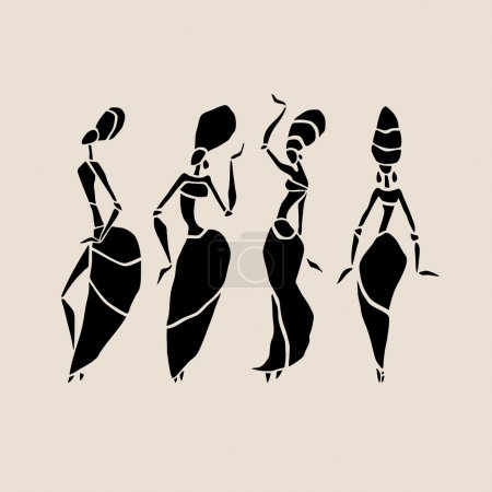 Illustration for Figures of african dancers. Dancing woman in ethnic style. Vector  Illustration - Royalty Free Image