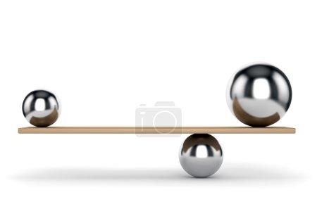 Photo pour Concept abstrait d'équilibre et d'harmonie. Boules métalliques sur planche isolée sur fond blanc . - image libre de droit