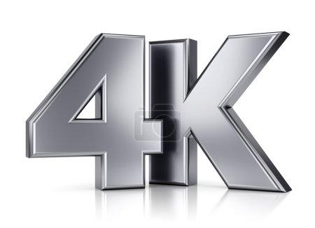 Photo pour 4 k ultra haute définition télévision technologie logo icône isolé sur fond blanc avec effet de reflet - image libre de droit