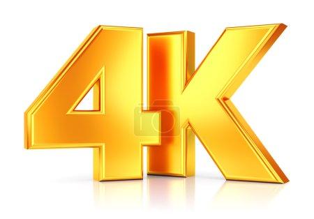 Photo pour 4K ultra haute définition technologie de télévision icône logo doré isolé sur fond blanc avec effet de réflexion - image libre de droit