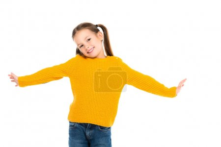 Photo for Cheerful kid smiling at camera isolated on white - Royalty Free Image