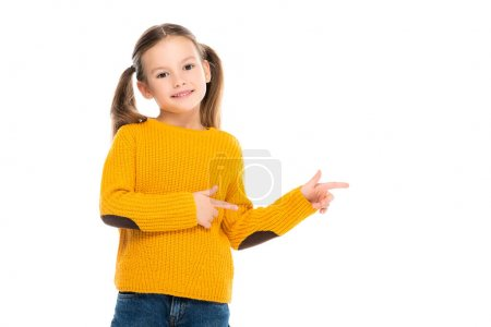 Smiling kid pointing with fingers away isolated on white