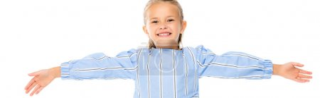 Positive kid looking at camera isolated on white, banner