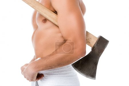 Photo for Cropped view of sexy shirtless man in towel posing with ax isolated on white - Royalty Free Image