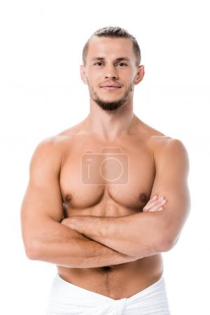 Photo for Sexy shirtless man posing with crossed arms isolated on white - Royalty Free Image