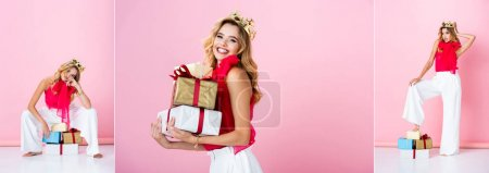 Photo for Collage of elegant happy woman in crown with gifts on pink background, banner - Royalty Free Image