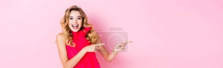 Photo for Elegant happy woman in crown pointing up on pink background, banner - Royalty Free Image