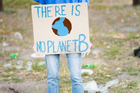 vista recortada de voluntarios sosteniendo pancarta con globo y no hay inscripción planeta b, concepto de ecología