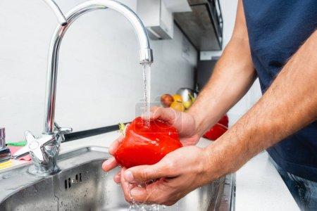 Photo pour Vue recadrée de l'homme lavant le poivron dans la cuisine - image libre de droit