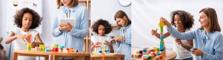 Collage of psychologist with digital tablet looking and helping african american girl building tower with wooden blocks in office, banner