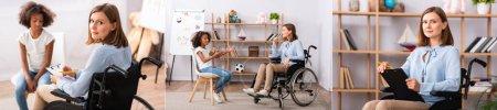 Collage von Psychologen, die afrikanisches amerikanisches Mädchen beraten und im Rollstuhl sitzend in die Kamera schauen, Banner