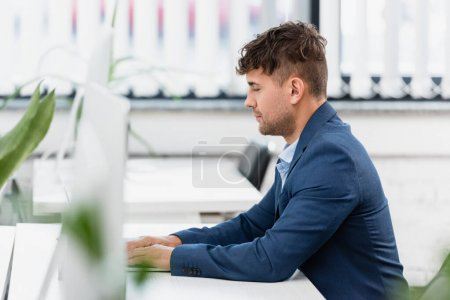 Executive working, while sitting at table in office with blurred plant on foreground