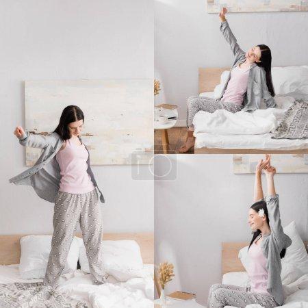 Collage von Frau mit Vitiligo Stretching im Schlafzimmer