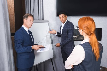 Back view of redhead executive standing near multicultural colleagues gesturing near flipchart in meeting room
