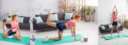 Collage einer jungen blonden Sportlerin beim Training auf Fitnessmatte in der Nähe von Laptop, Hantel und Sportflasche zu Hause, Banner