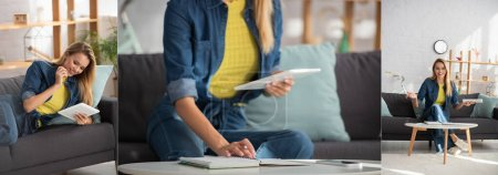 Photo for Collage of young blonde woman with digital tablet lying on couch, writing in notebook and looking at camera at home, banner - Royalty Free Image