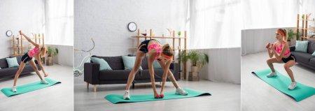 Photo pour Collage de jeunes sportives faisant de l'exercice avec des haltères sur tapis de fitness à la maison, bannière - image libre de droit