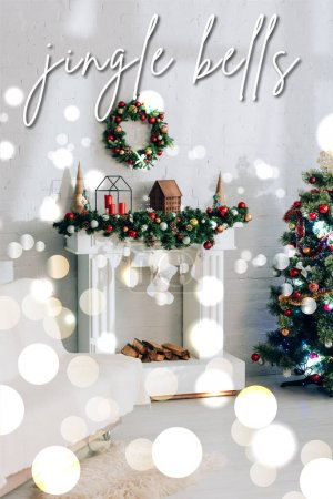 Photo for Fireplace with christmas stockings and jingle bells lettering in decorated apartment - Royalty Free Image