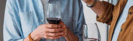 Photo pour Vue recadrée du couple âgé tenant des verres à vin, bannière - image libre de droit