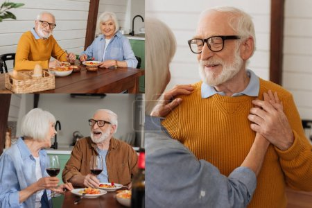 Photo for Collage of happy elderly couple dancing, laughing and looking at camera while sitting at table with vegetarian dinner in kitchen - Royalty Free Image