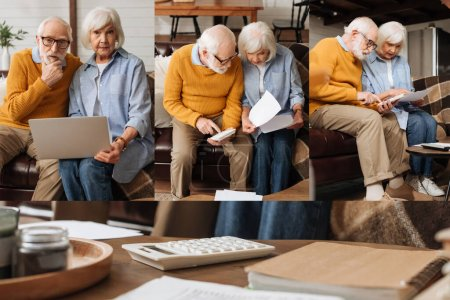 collage of senior couple calculating while looking at bills on couch, using laptop and sitting near white calculator on table at home