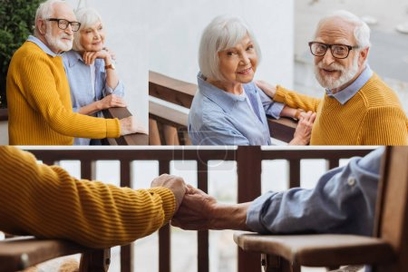 Collage von lächelnden Senioren, die in die Kamera schauen, Händchen halten und sich auf der Terrasse vor verschwommenem Hintergrund umarmen