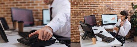 Collage d'homme d'affaires tenant un café à emporter et parlant au téléphone près des ordinateurs, bannière