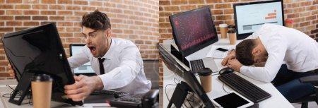 Collage d'un homme d'affaires fou tenant un moniteur d'ordinateur et assis près du café pour aller et des appareils dans le bureau, bannière