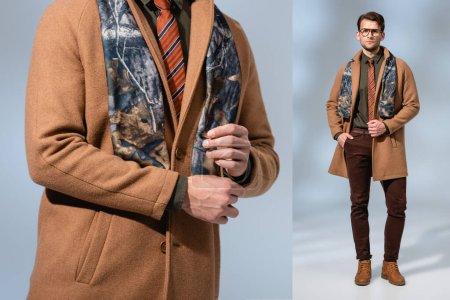 Photo pour Collage de l'homme à la mode en manteau d'hiver debout avec la main dans la poche sur gris - image libre de droit